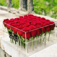 جعبه گل رز 36 شاخه شیشه ای